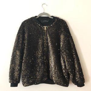 ZARA Bomber Jacket Gold sequins black Coat Small